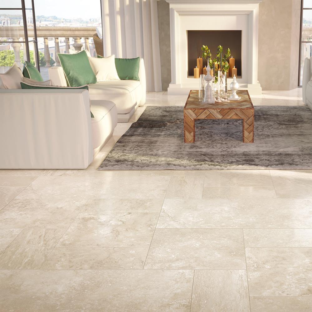 carrelage sol imitation pierre 60x60 travertin beige lappato rect collection tradition monocibec