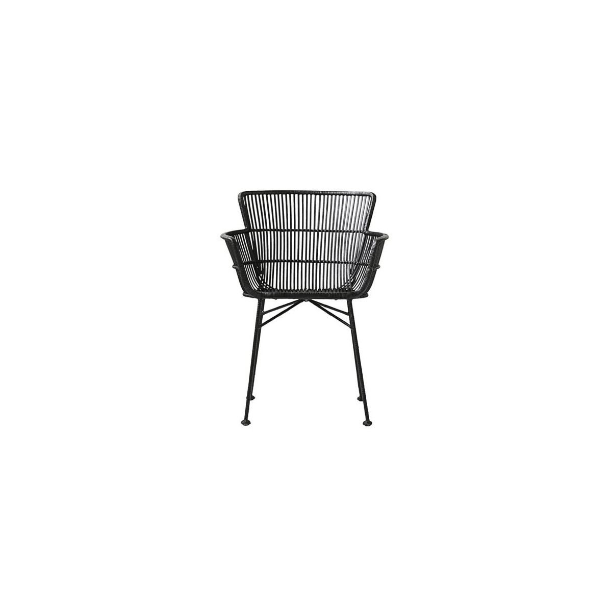 black rattan chair steel with tablet arm cuun house doctor