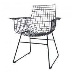Metal Armchair Banana Fiber Rocking Chair Arm Designs Wire Black With Armrests Hk Living