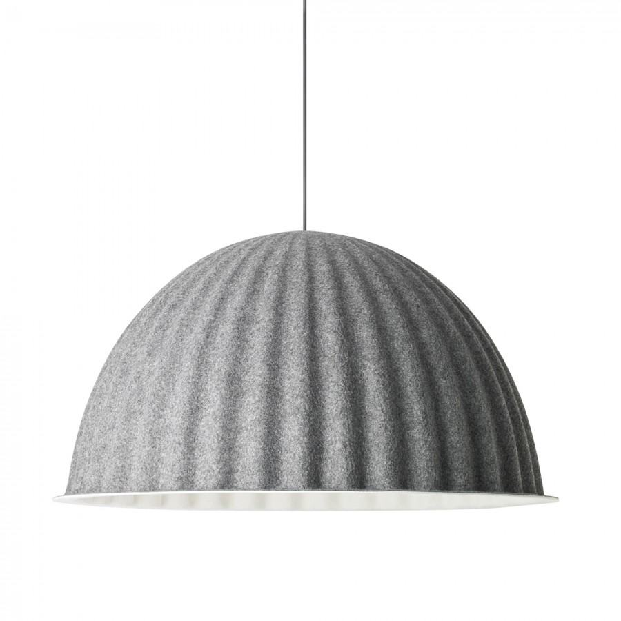 UNDER THE BELL pendant lamp in grey acoustic felt