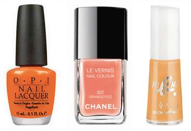 Vernis OPI: In My Back Pocket 13,50 € - Vernis Chanel: Orange Fizz 20,50 € - Vernis Agnés B Mini b. Collection artiste  7,90 €