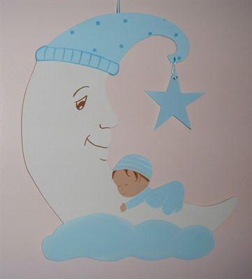 Kukuletalı Aydede Ahşap Kapı Süsü - Erkek Bebek