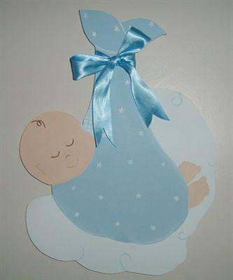 Kundak Bebek Ahşap Kapı Süsü - Erkek Bebek