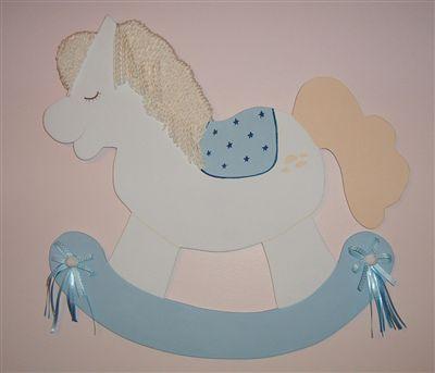 Pony Ahşap Kapı Süsü - Erkek Bebek