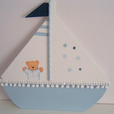 Sevimli Ahşap Yelken Kapı Süsü-2-