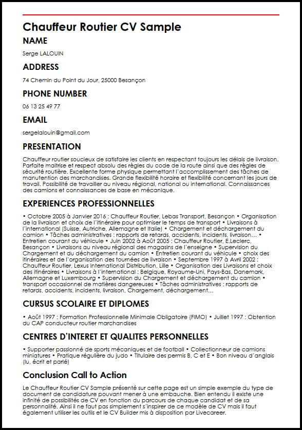 cv canadien competences