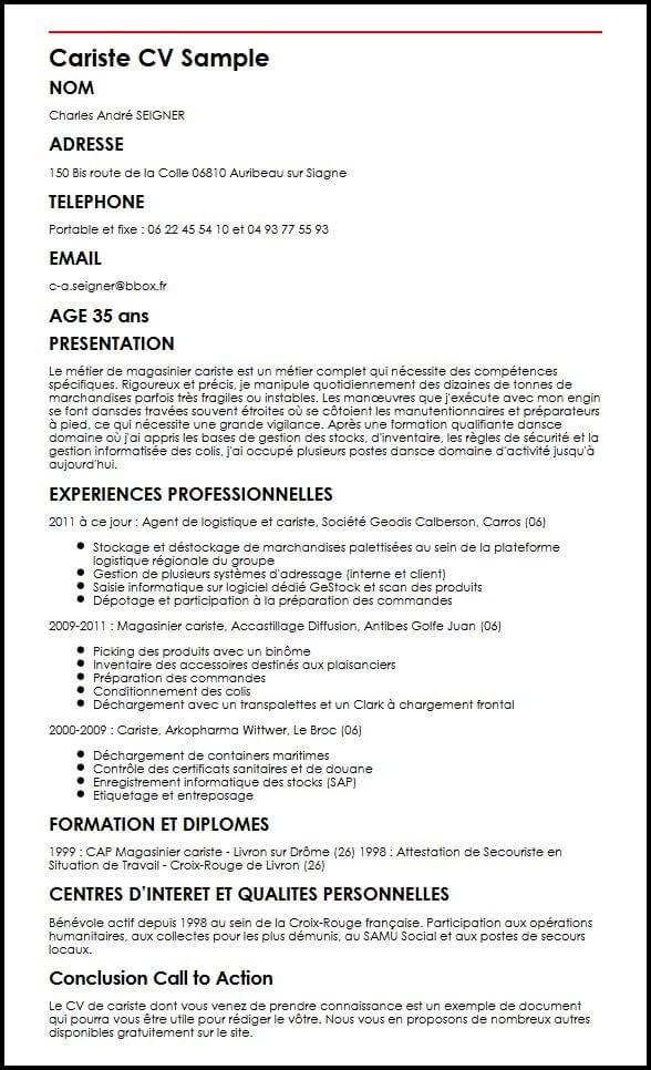 cv magasinier cariste pdf