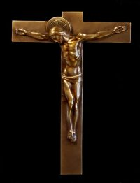 Magnificent 1920s ART DECO Bronze WALL CROSS CRUCIFIX