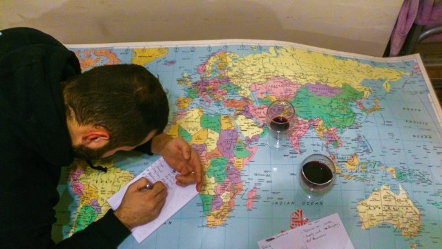 world map and wine
