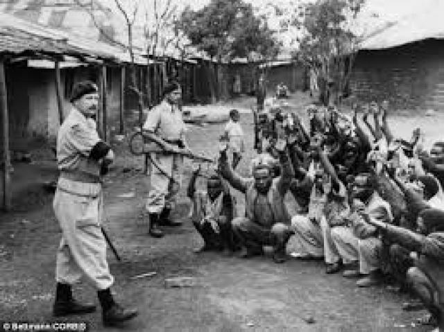 Kenyan captured man on British Camps in Kenya
