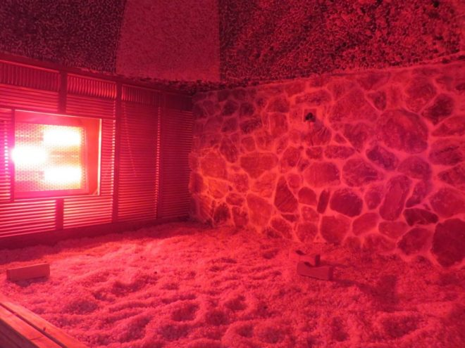 The sauna of a jjimjilbang, which are a great way of travelling South Korea on a budget