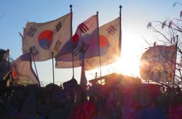 Korean flags at the DMZ, one of the things to do in South Korea
