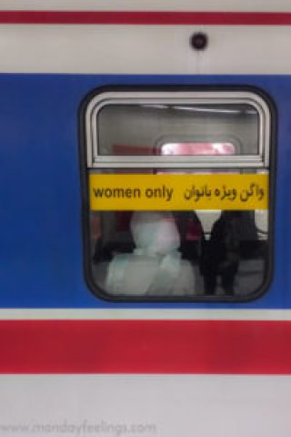 window of metro saying women only in persian