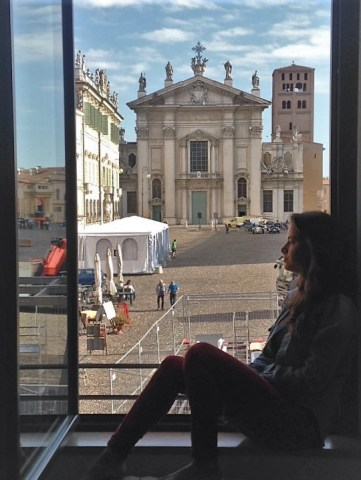 window facing the square in Mantua