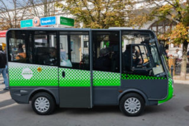 electric bus in city centre of Ljubljana