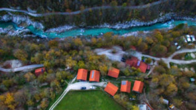 Soca River and Kamp Koren in Kobarid