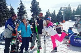 group of friends skiing