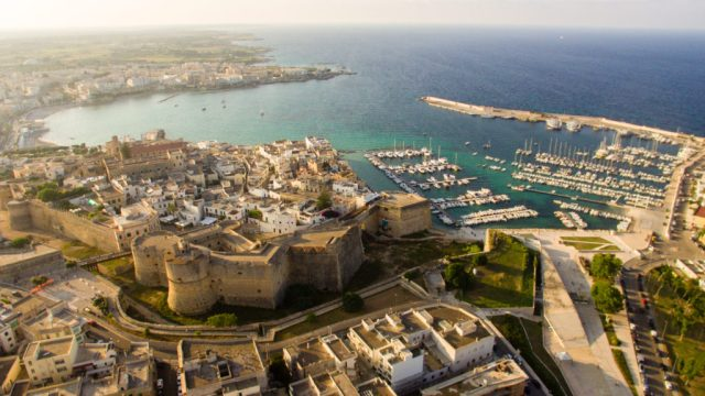An aerial shot of the castle and the centre of Otranto
