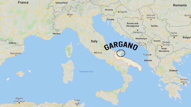 Map of Gargano in Italy