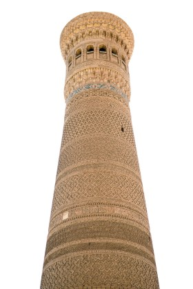 A minaret tower in Bukhara, Uzbekistan