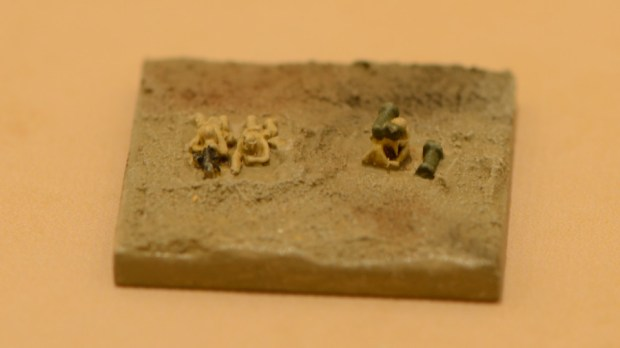 Close-up of a special weapons team base (note this base is 20mm by 20mm and only 1.5mm high)