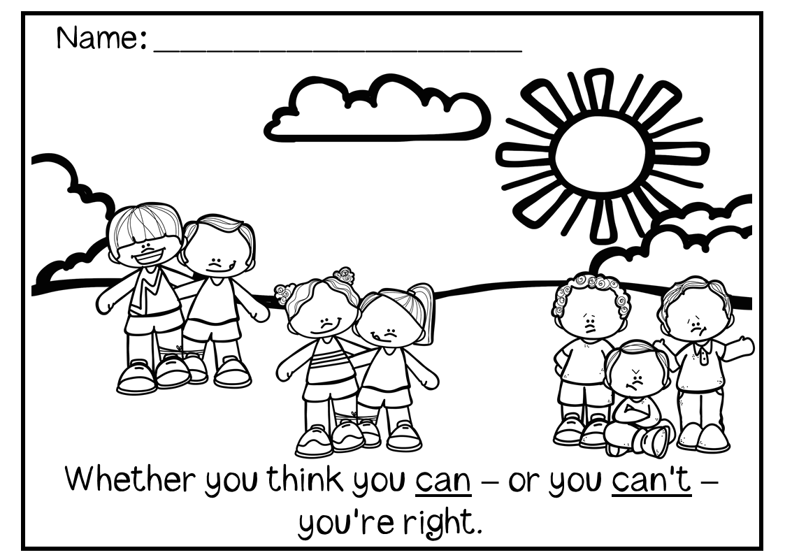 Growth Mindset Colouring Pages for the Early Years (K-2 or