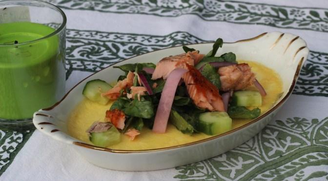 Savory Crème Brulee, with Frisee Salad and pickled Kohlrabi
