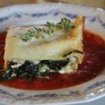 Swiss chard lasagna with ricotta and mushrooms, on homegrown tomato sauce