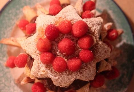 Rasberry, vanilla, chocolate Pandoro