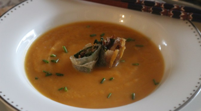 sweet potato soup with ginger and lime, and crisp mushroom rolls