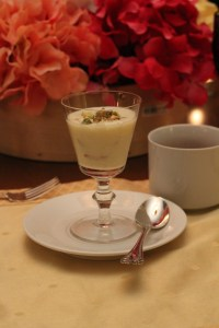 Creamy Rice pudding with almonds and pistachios