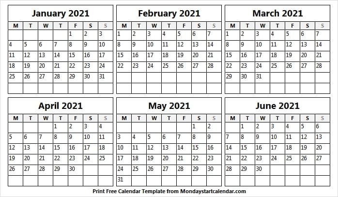 After all, it's just another way to show some excitement for the end of 2020. Free Calendar January to June 2021 Template - Month of Jan ...