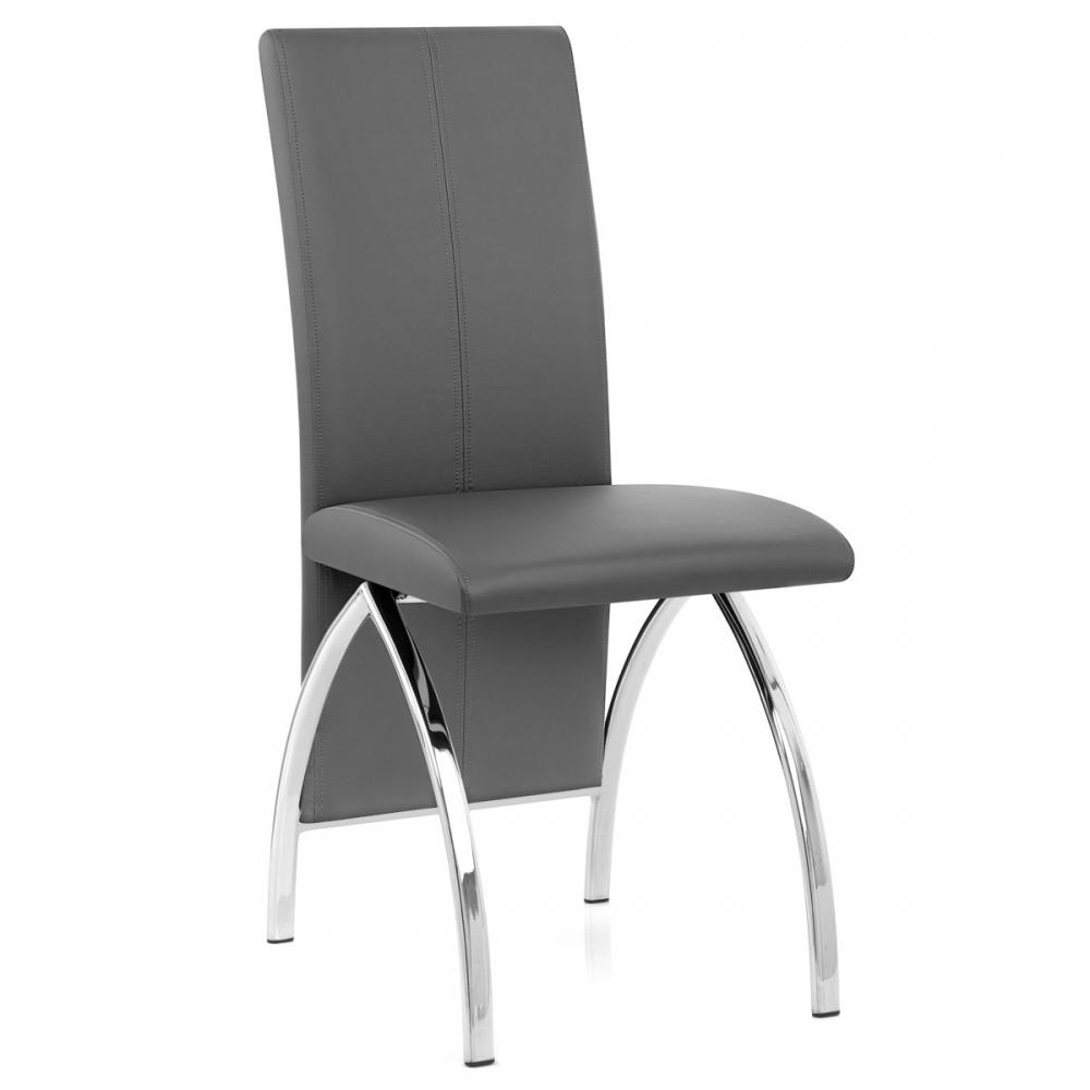 chaise faux cuir chrome dali gris