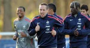 Evra, Ribéry & Sagna à l'entrainement des bleus - © AFP