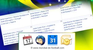 Le calendrier de la coupe du monde 2014