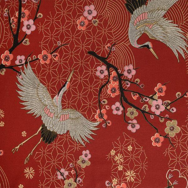 tissu japonais grues et fleurs rouge et dore