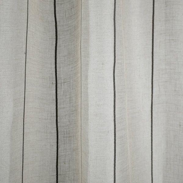 tissu voile lin fines rayures grises grande largeur