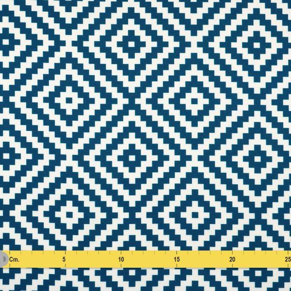 tissu toile exterieure imprime geometrique bleue