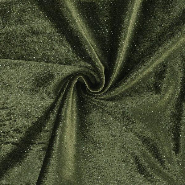 Tissu velours à paillettes vert kaki