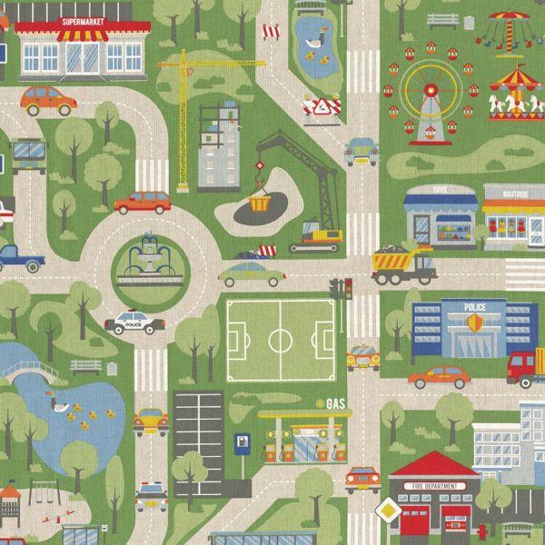 tissu coton epais city map multicolore