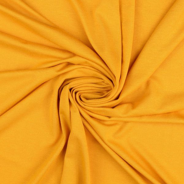 Tissu jersey uni lourd moutarde