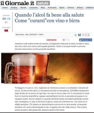 l'alcol fa bene alla salute