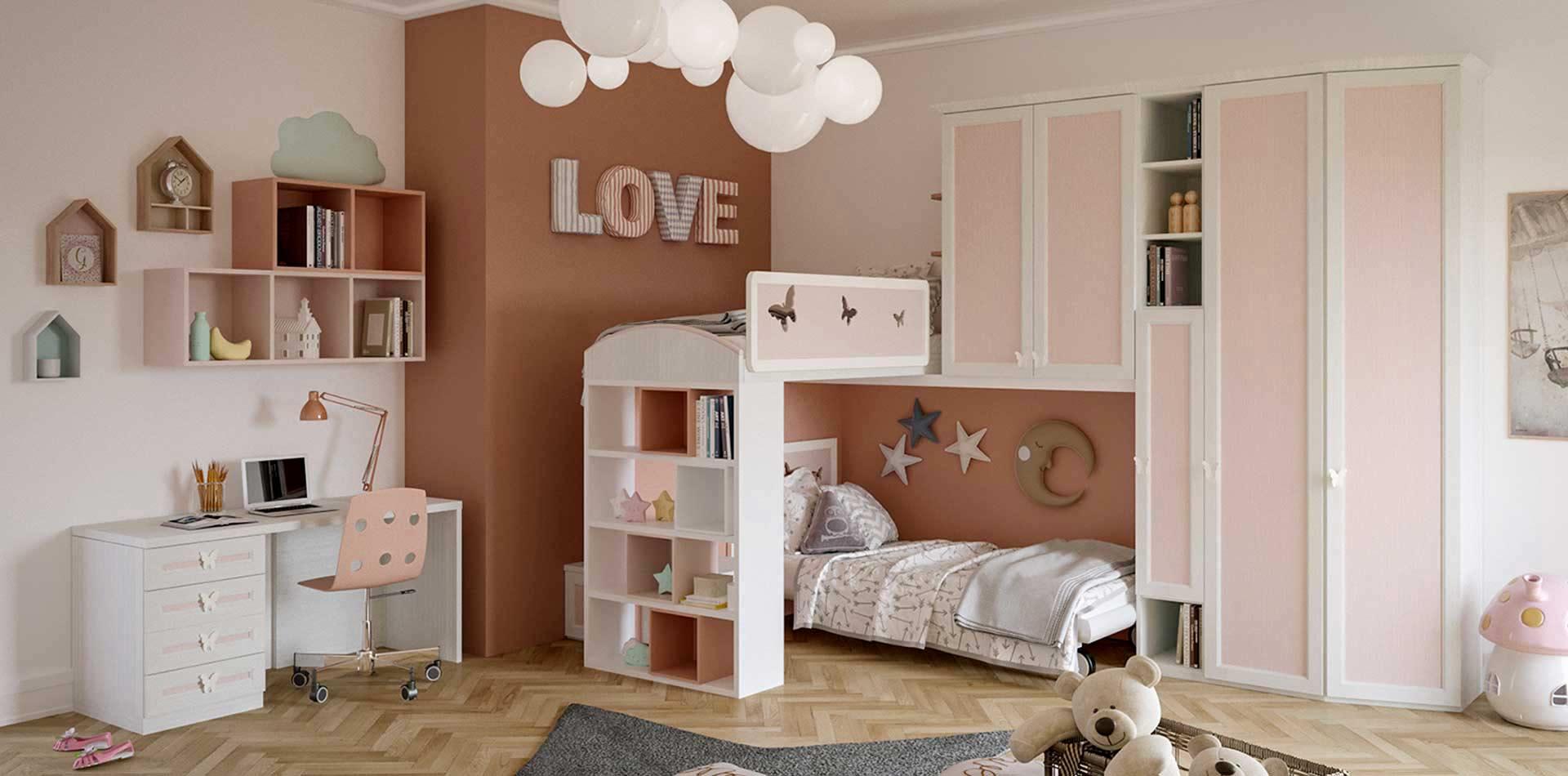 Cameretta per bambine con soppalco colore bianco e rosa