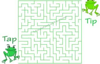 Labirinti per bambini con le rane Tip e Tap, trova la strada