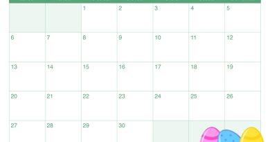 Calendario mese aprile per bambini
