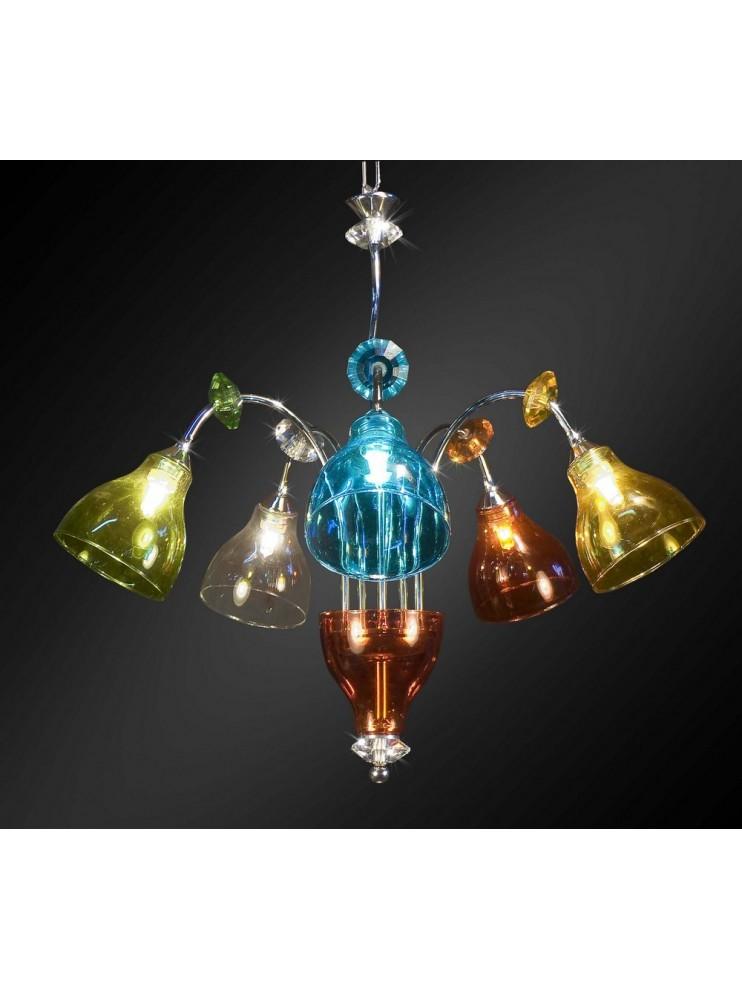 Lampadario con paralumi in cotone e gocce di vetro, se ami la. Lampadario Moderno Con Vetro Colorato 5 Luci Bga 1678