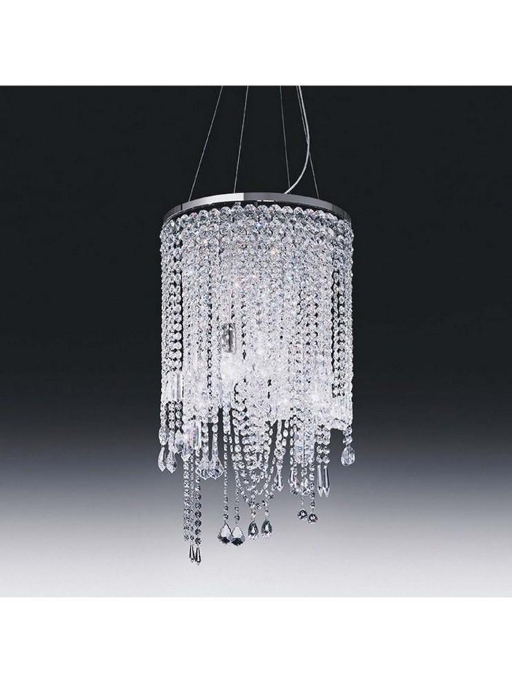 Calaonda sospensione in metallo cromato e pendenti in cristallo. Lampadario In Cristallo D 40 Con Pendenti 5 Luci Voltolina Cascade