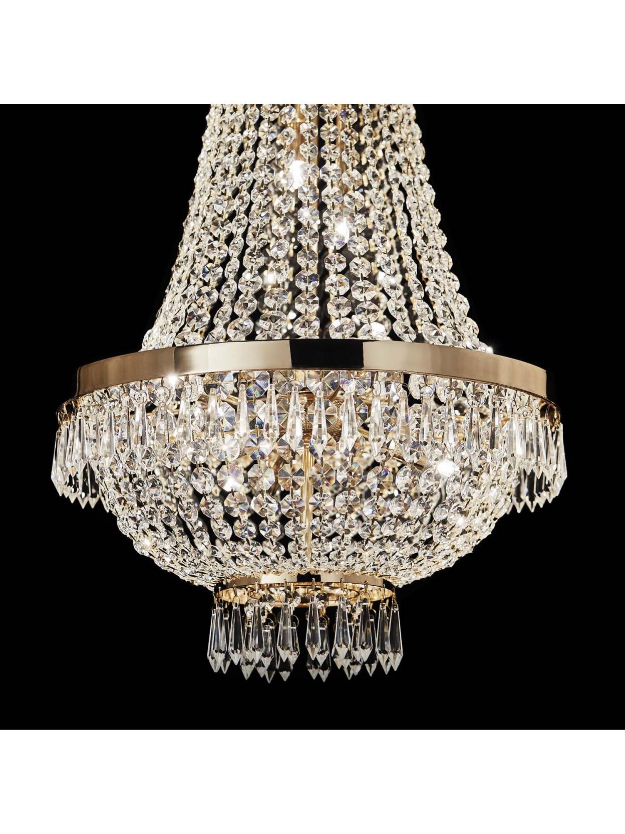 Lampadario in cristallo classico 9 luci Caesar oro