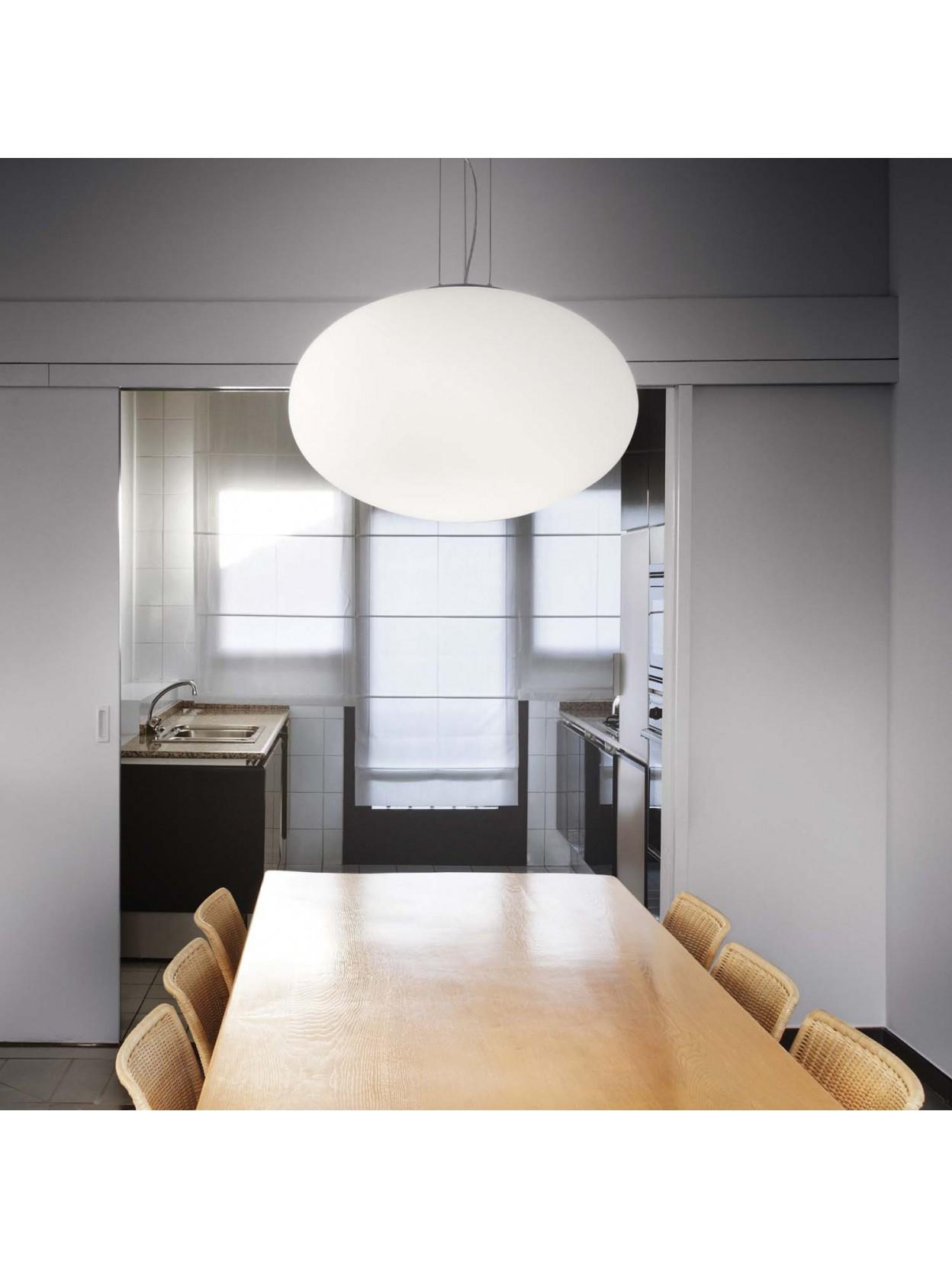 Lampadario moderno in vetro bianco 1 luce Candy d50
