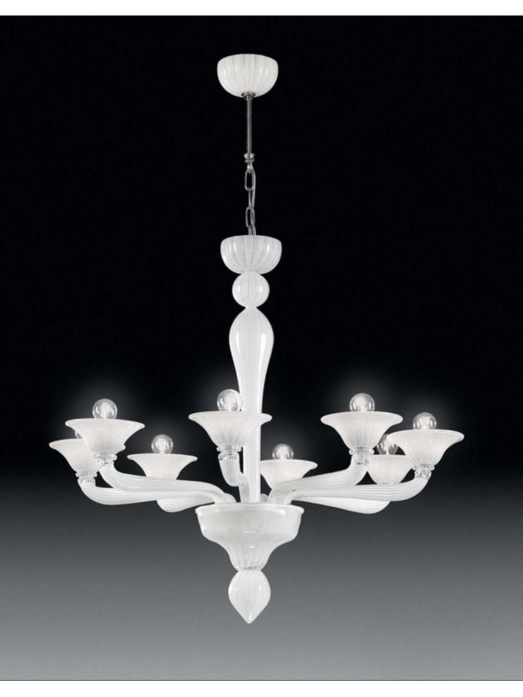 Scopri l'intera collezione di lampadari e acquista on line. Murano Chandelier 8 Lights Voltolina Ca D Oro White